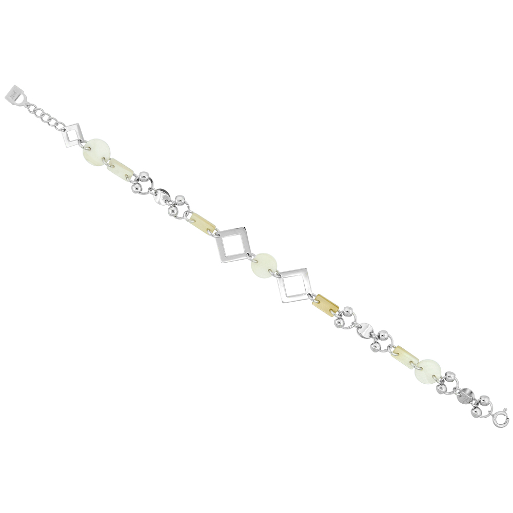 Sterling Silver Circle & Rectangle Shell Bracelet, 7 inch long