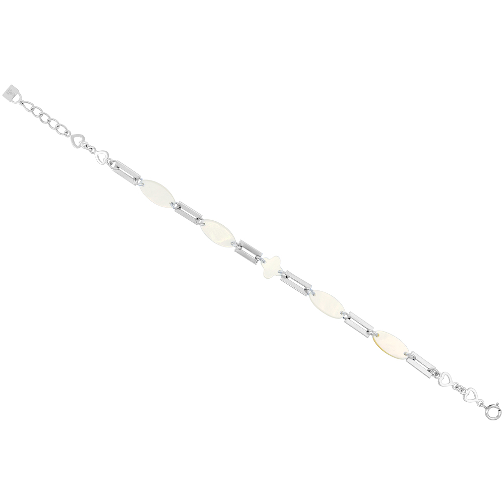 Sterling Silver Oval Mother of Pearl and Shell Bracelet with Teeny Hearts, 7 inch long + 1 inch extension