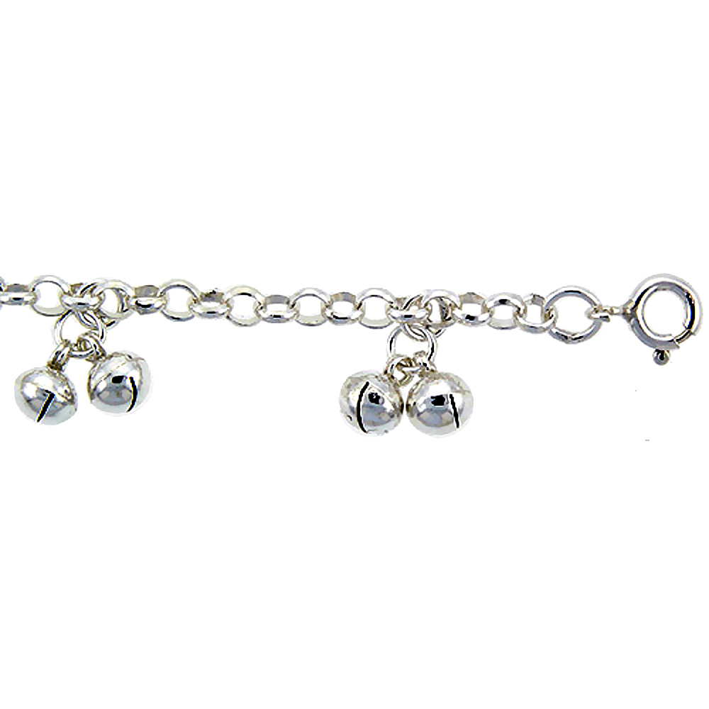 Sterling Silver Anklet with Bells, fits 9 - 10 inch ankles