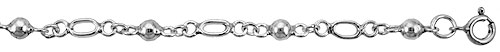 Sterling Silver Anklet with Balls & Oval Cut Out links, fits 9 - 10 inch ankles