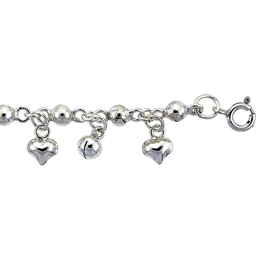 Sterling Silver Anklet with Beads, Hearts & Bells, fits 9 - 10 inch ankles
