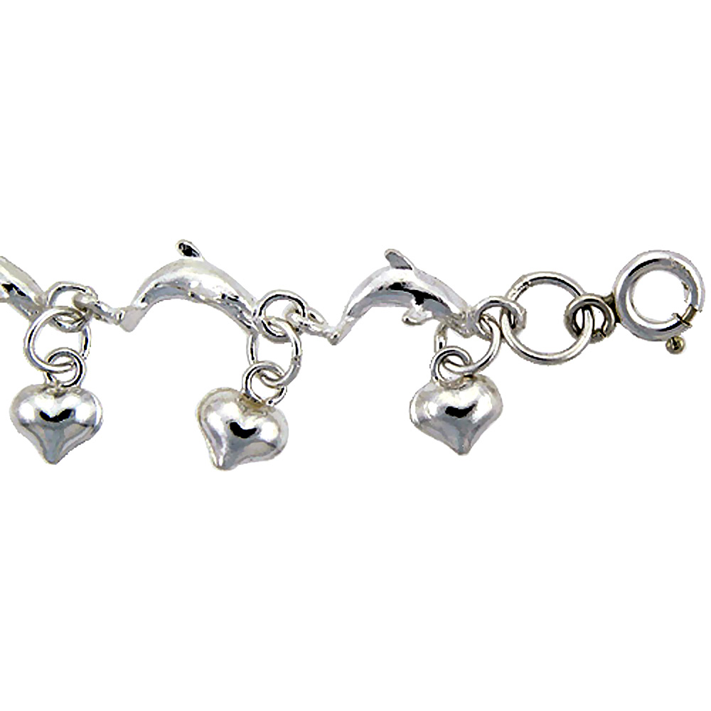 Sterling Silver Anklet with Jumping Dolphins and Teeny Hearts, fits 9 - 10 inch ankles