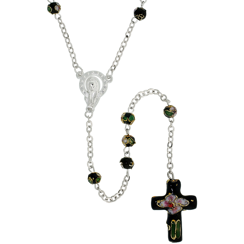 Cloisonne Rosary Necklace Black Color 5 mm Beads, 30 inch