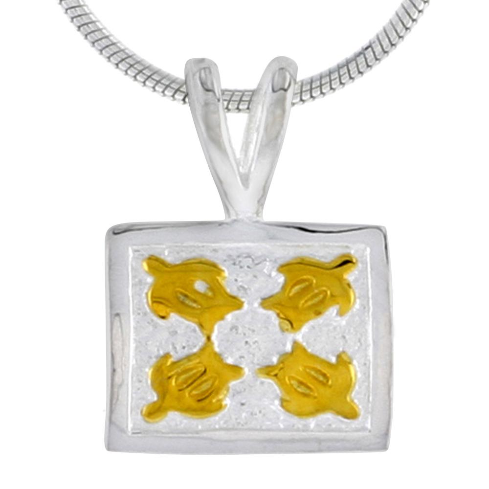 Hawaiian Theme Sterling Silver 2-Tone Sea Turtles Pendant, 3/8 (10 mm) tall