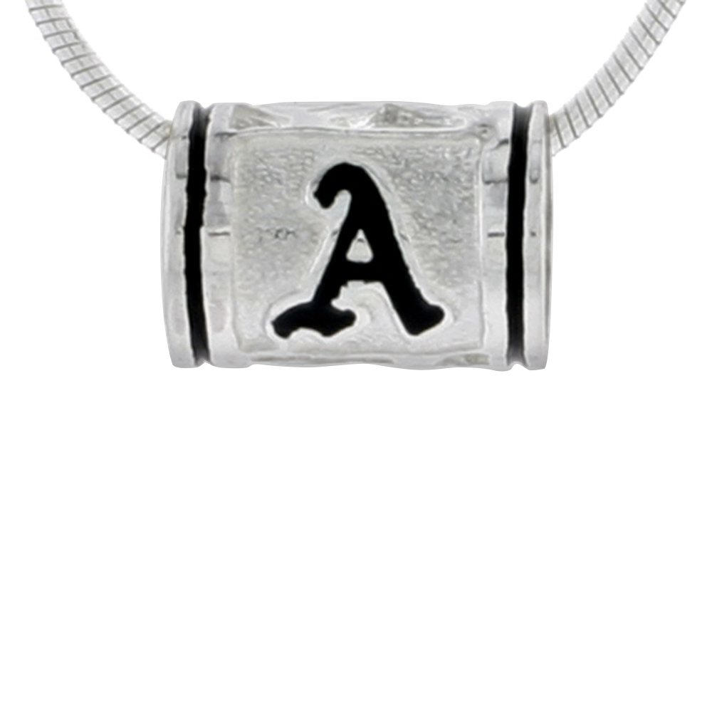 Sterling Silver Hawaiian Charm Bead Initial A Charm Bracelet Compatible, 1/2 inch wide