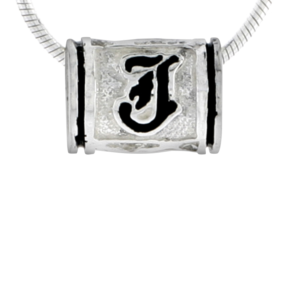 Sterling Silver Hawaiian Charm Bead Initial J Charm Bracelet Compatible, 1/2 inch wide