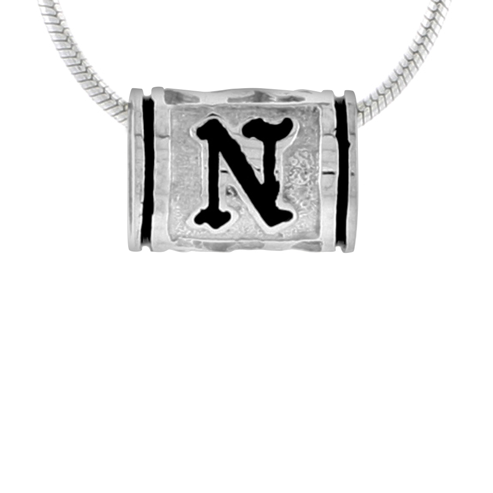 Sterling Silver Hawaiian Charm Bead Initial N Charm Bracelet Compatible, 1/2 inch wide