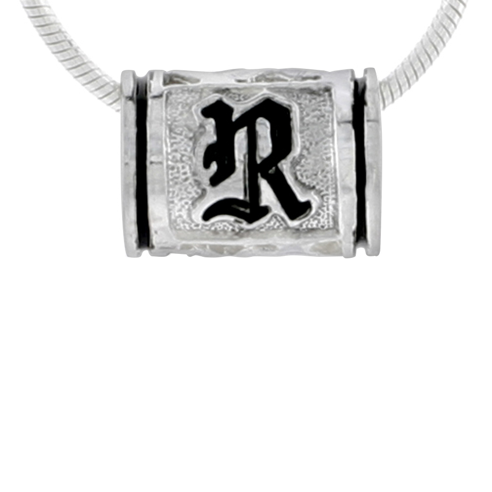 Sterling Silver Hawaiian Charm Bead Initial R Charm Bracelet Compatible, 1/2 inch wide