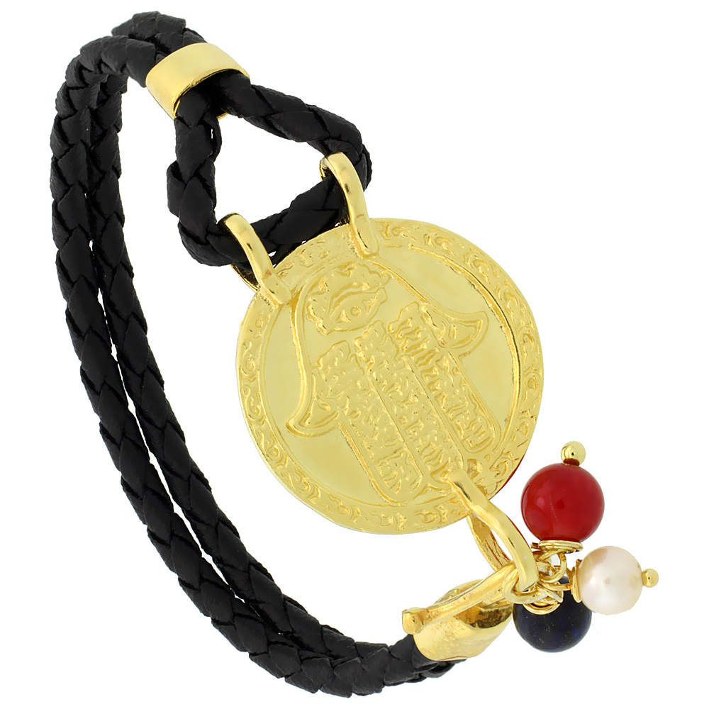 Sterling Silver Islamic HAND OF FATIMA Gold Plated Black Braided Leather Bracelet Tri-colored Beads, 15/16 inch diameter, 7.25 inches long
