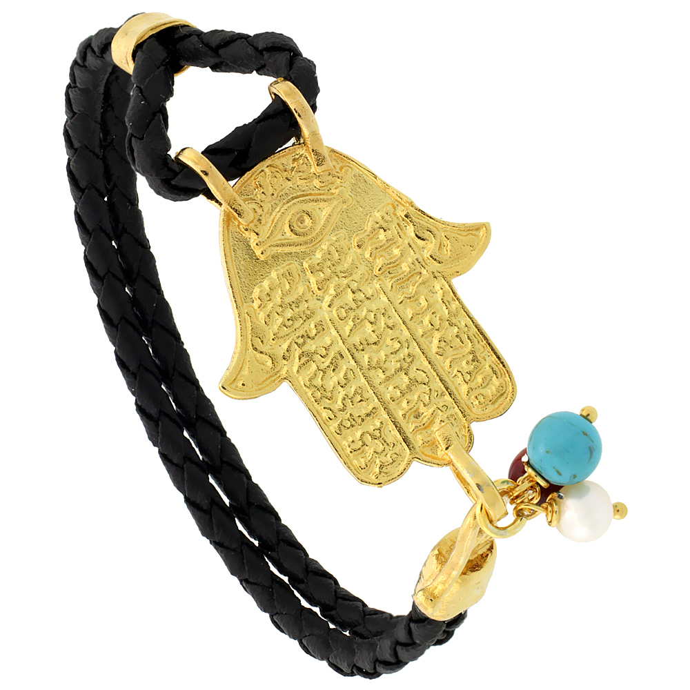 Sterling Silver Islamic HAND OF FATIMA Gold Plated Black Braided Leather Bracelet Tri-colored Beads, 1 1/8 inch wide, 7.25 inches long