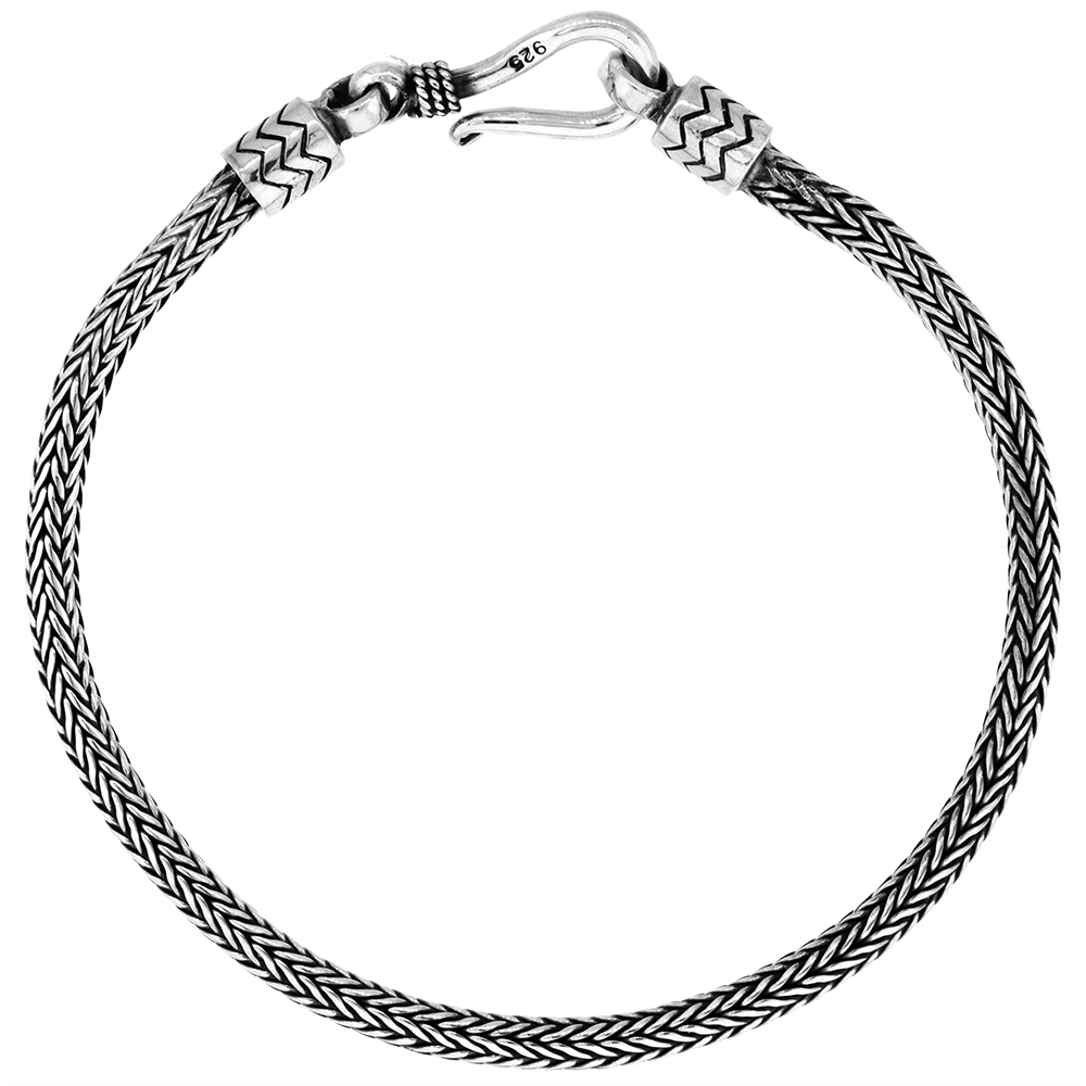 Sterling Silver 3mm Round Foxtail Tulang Naga Chain Bracelets Genuine Bali Handmade Antiqued Finish Nickel Free 7-8 inch