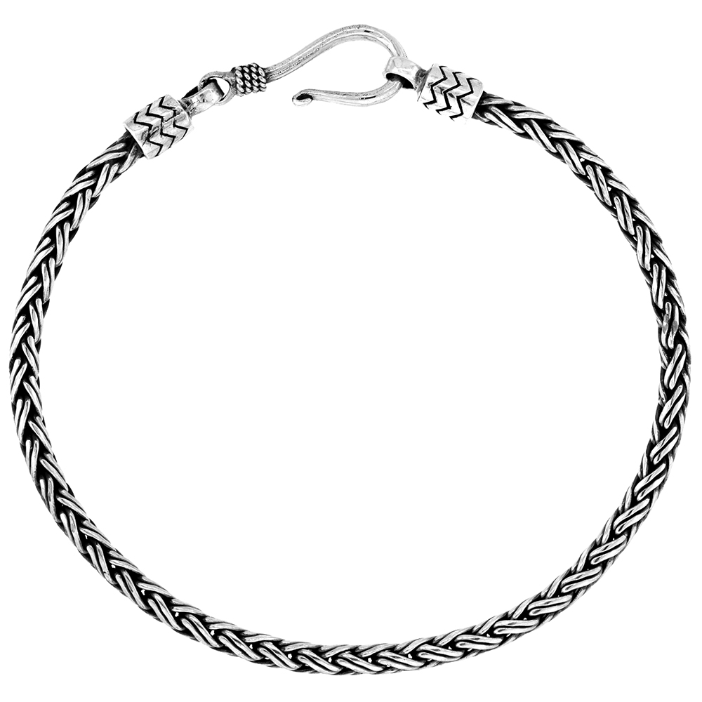 Sterling Silver 3mm Double Wire Bali wheat Chain Bracelets Handmade Antiqued Finish Nickel Free 7-8 inch