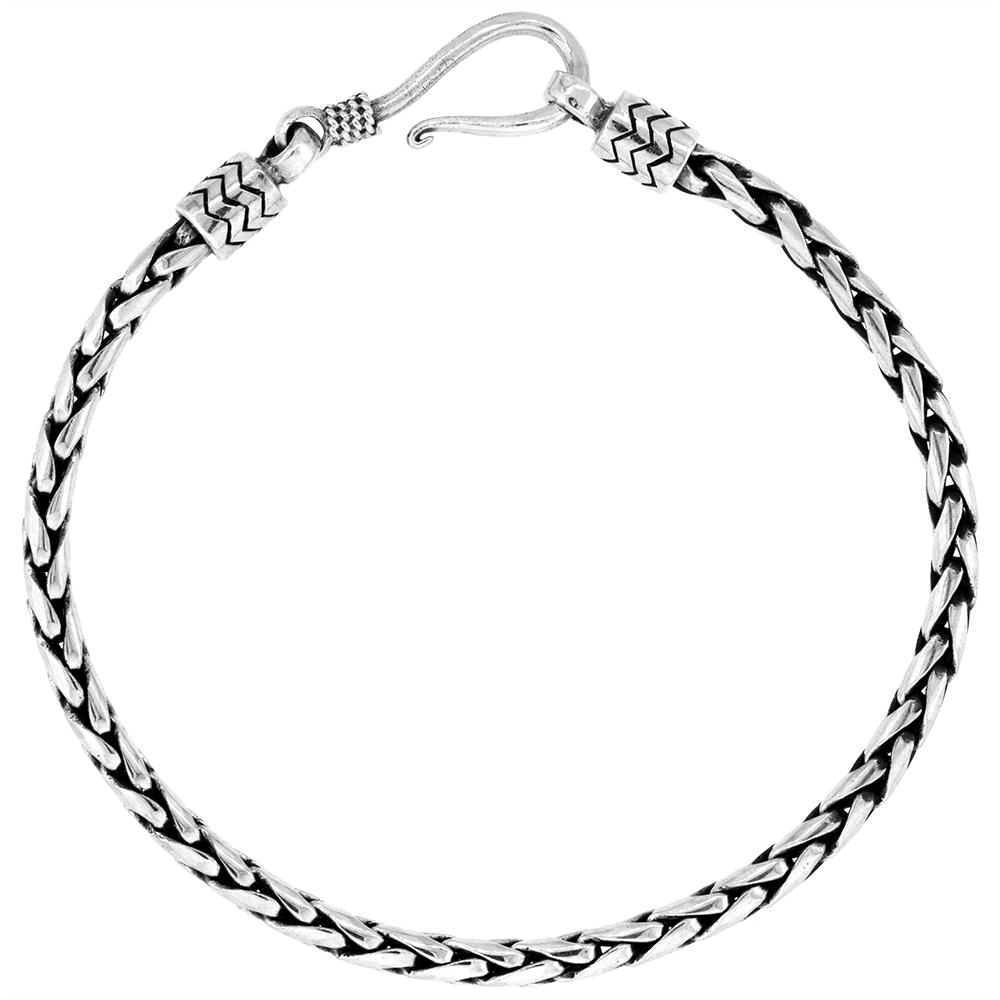 Sterling Silver 3.2mm Bali wheat Chain Bracelets Handmade Antiqued Finish Nickel Free 7-8 inch