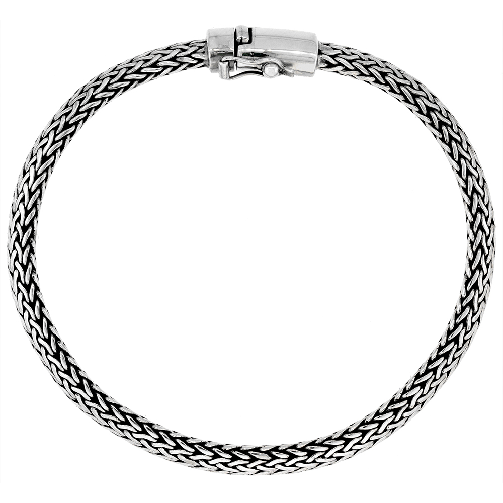 Sterling Silver 6mm Oval Foxtail Chain Tulang Naga Bracelet for Men Genuine Bali Handmade Antiqued Finish Nickel Free 8.5 inch