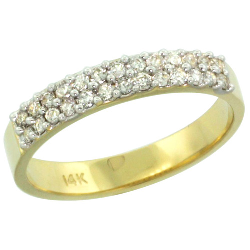 14k Gold 2-Row Diamond Ring Band w/ 0.31 Carat Brilliant Cut ( H-I Color; SI1 Clarity ) Diamonds, 1/8 in. (3.5mm) wide