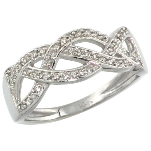 14k White Gold Braided Knot Diamond Ring w/ 0.15 Carat Brilliant Cut ( H-I Color; VS2-SI1 Clarity ) Diamonds, 9/32 in. (7mm) wide