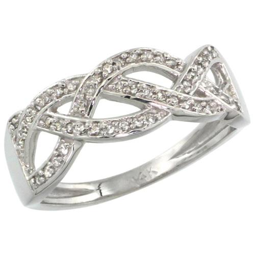 14k White Gold Braided Knot Diamond Ring w/ 0.15 Carat Brilliant Cut ( H-I Color; VS2-SI1 Clarity ) Diamonds, 9/32 in. (7mm) wide