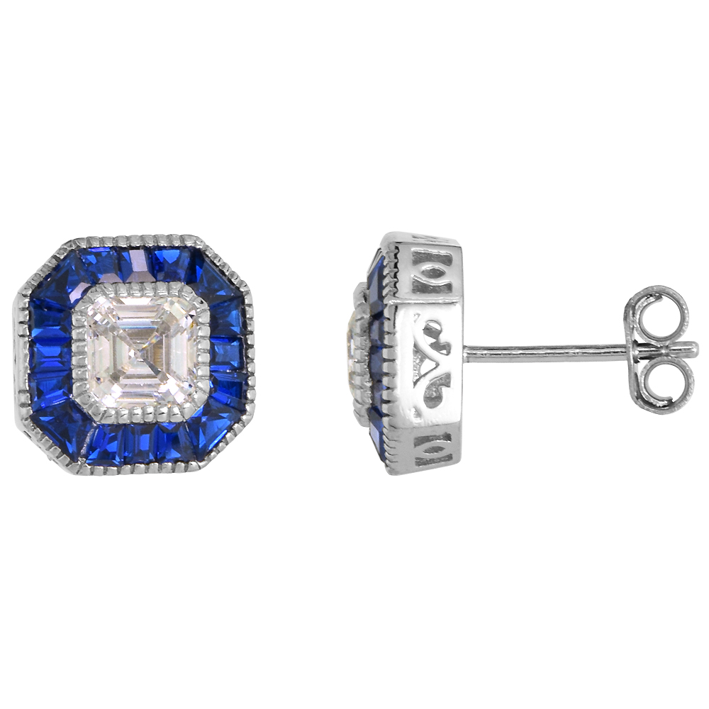 Sterling Silver Art Deco Stud Earrings Asscher-Cut CZ 6mm Synthetic Baguette Blue Sapphires 7/16 inch