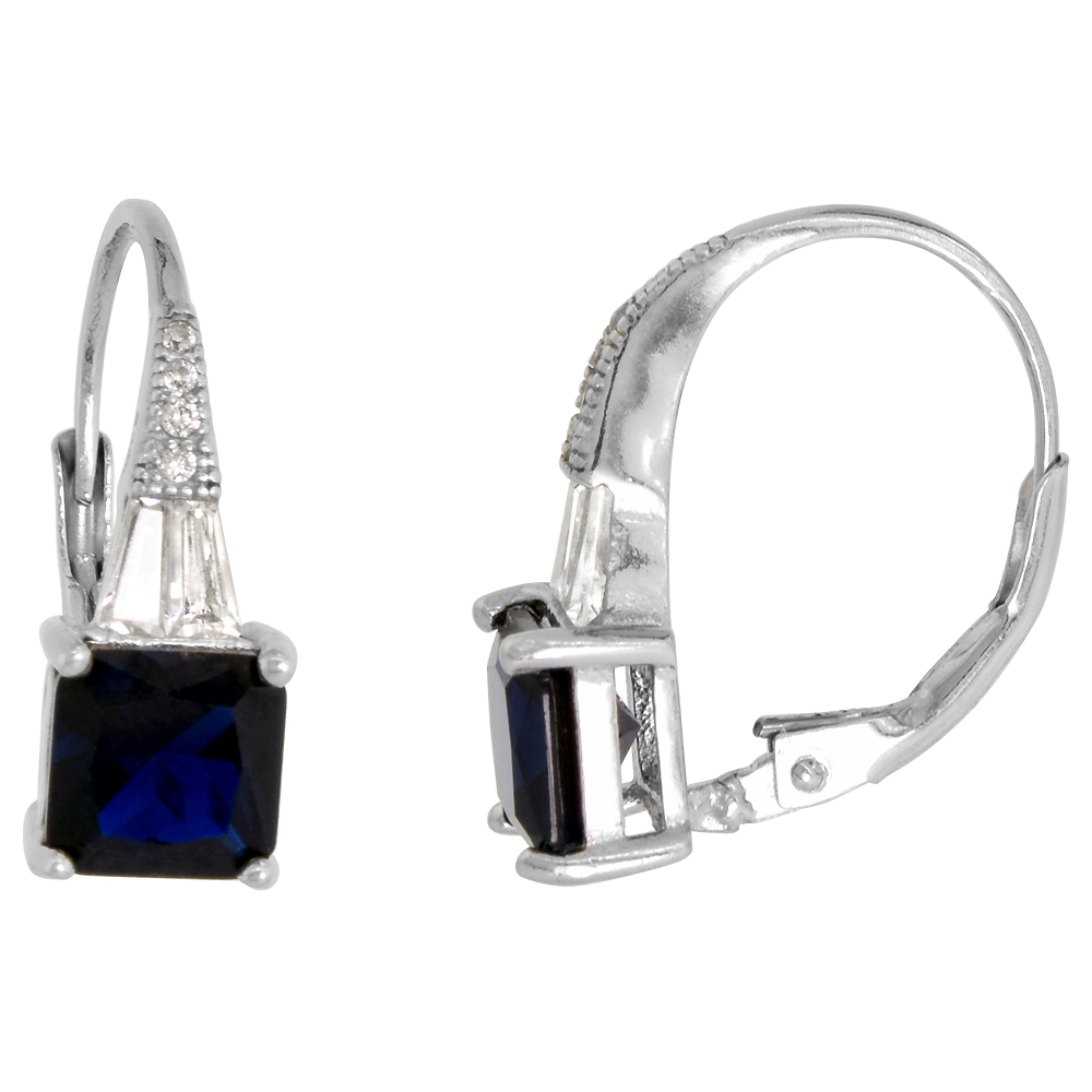 Sterling Silver Art Deco Lever Back Earrings Synthetic 6mm Square Blue Sapphire Micro Pave CZ 3/4 in.