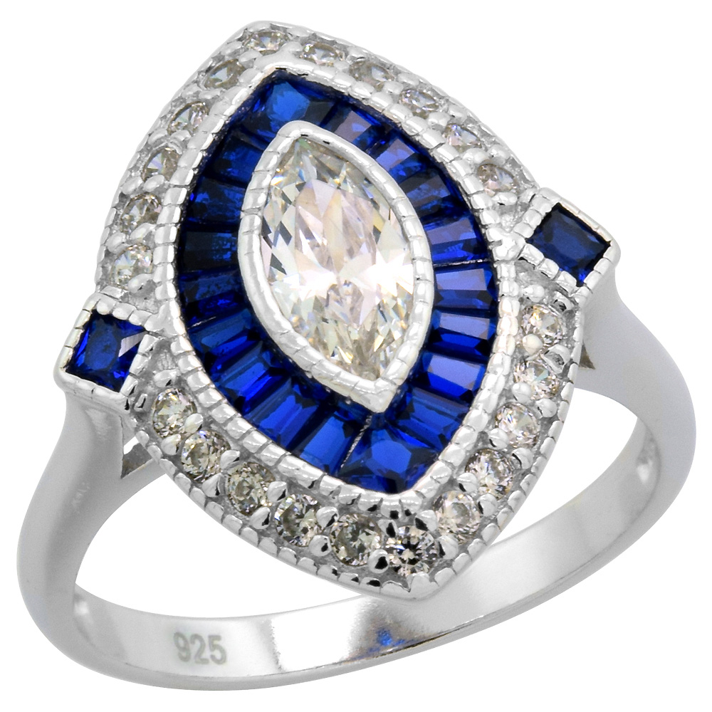 Sterling Silver Art Deco Ring Marquise CZ 9mm Synthetic Baguette Blue Sapphires 3/4 inch sizes 6-9