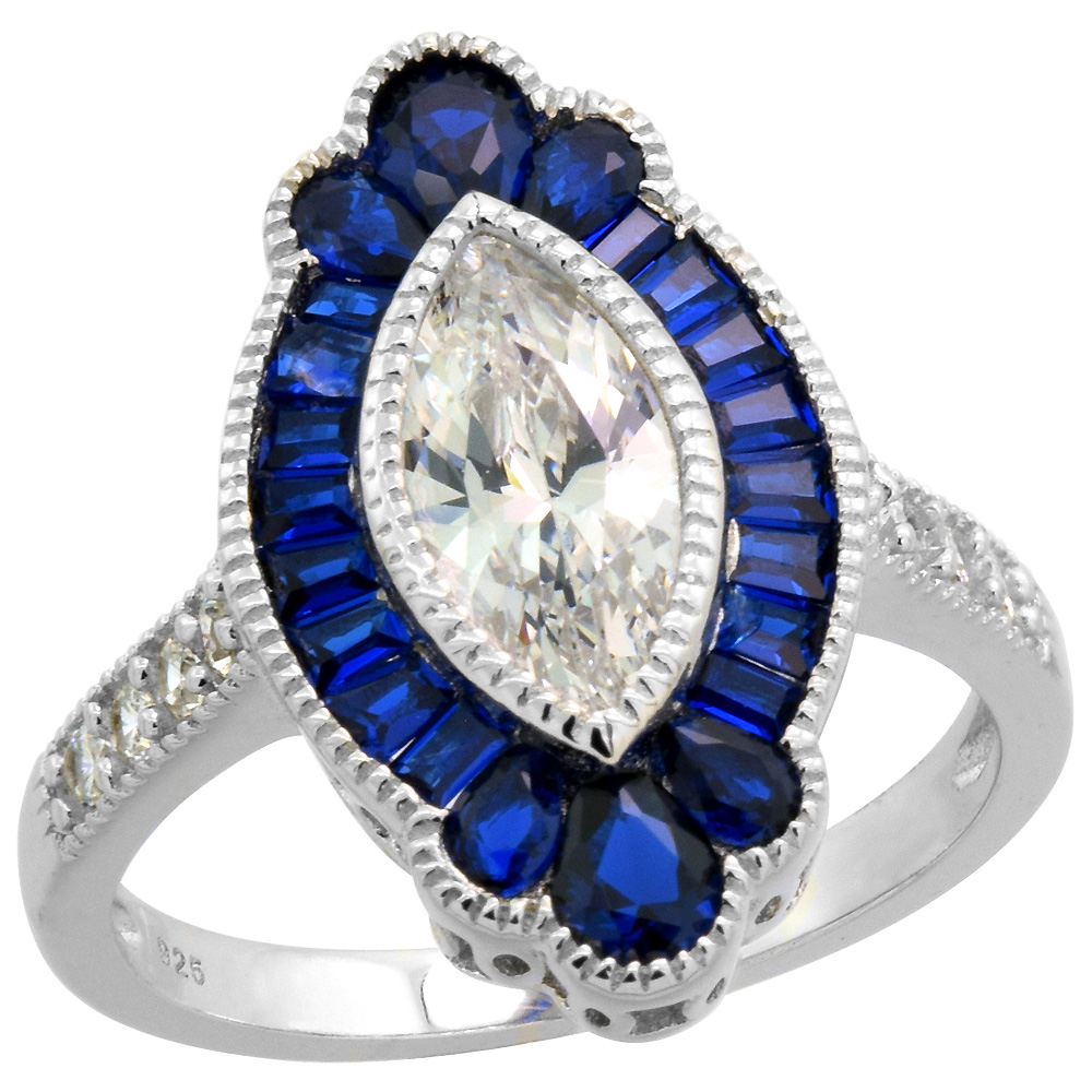 Sterling Silver Art Deco Ring Marquise CZ 11mm Synthetic Baguette Blue Sapphires 3/4 inch sizes 6-9