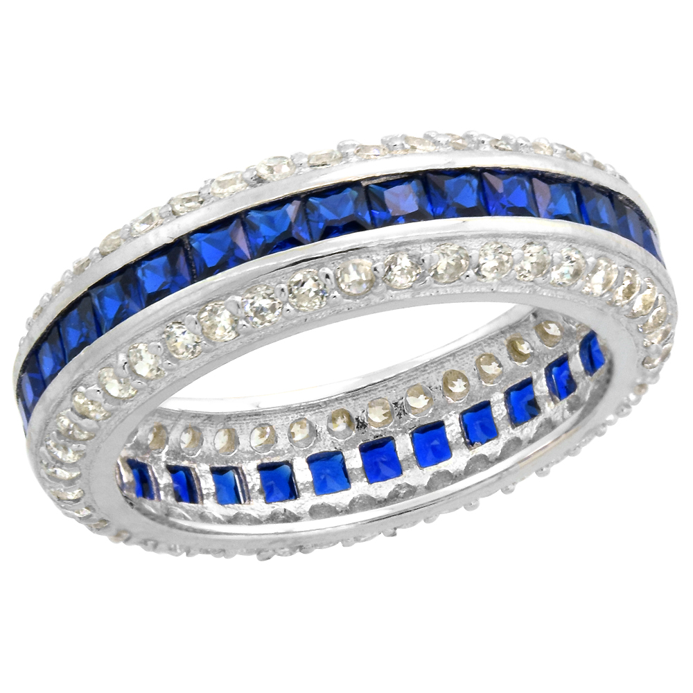 Sterling Silver Art Deco Eternity Ring Synthetic Square Blue Sapphires & CZ stones 1/4 inch sizes 6 - 9