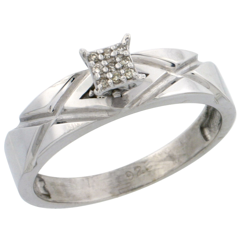 Sterling Silver Diamond Engagement Ring Rhodium finish, 3/16 inch wide