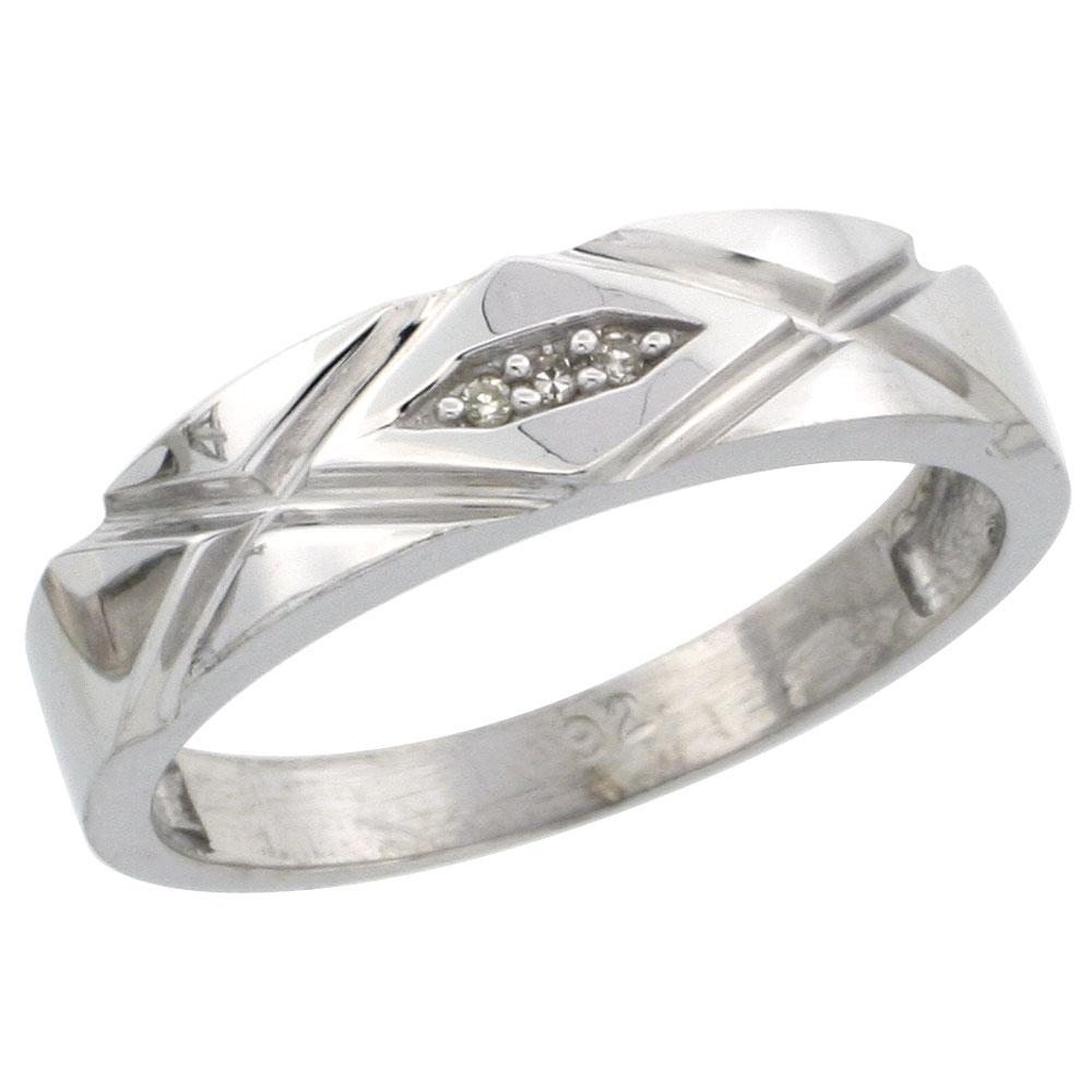 Sterling Silver Ladies' Diamond Wedding Band Rhodium finish, 3/16 inch wide