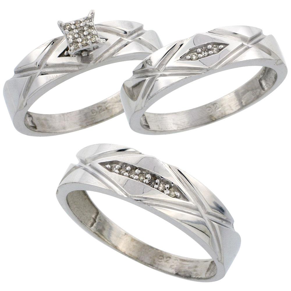 Sterling Silver Diamond Trio Wedding Ring Set His 6mm & Hers 5mm Rhodium  Finish, Men's