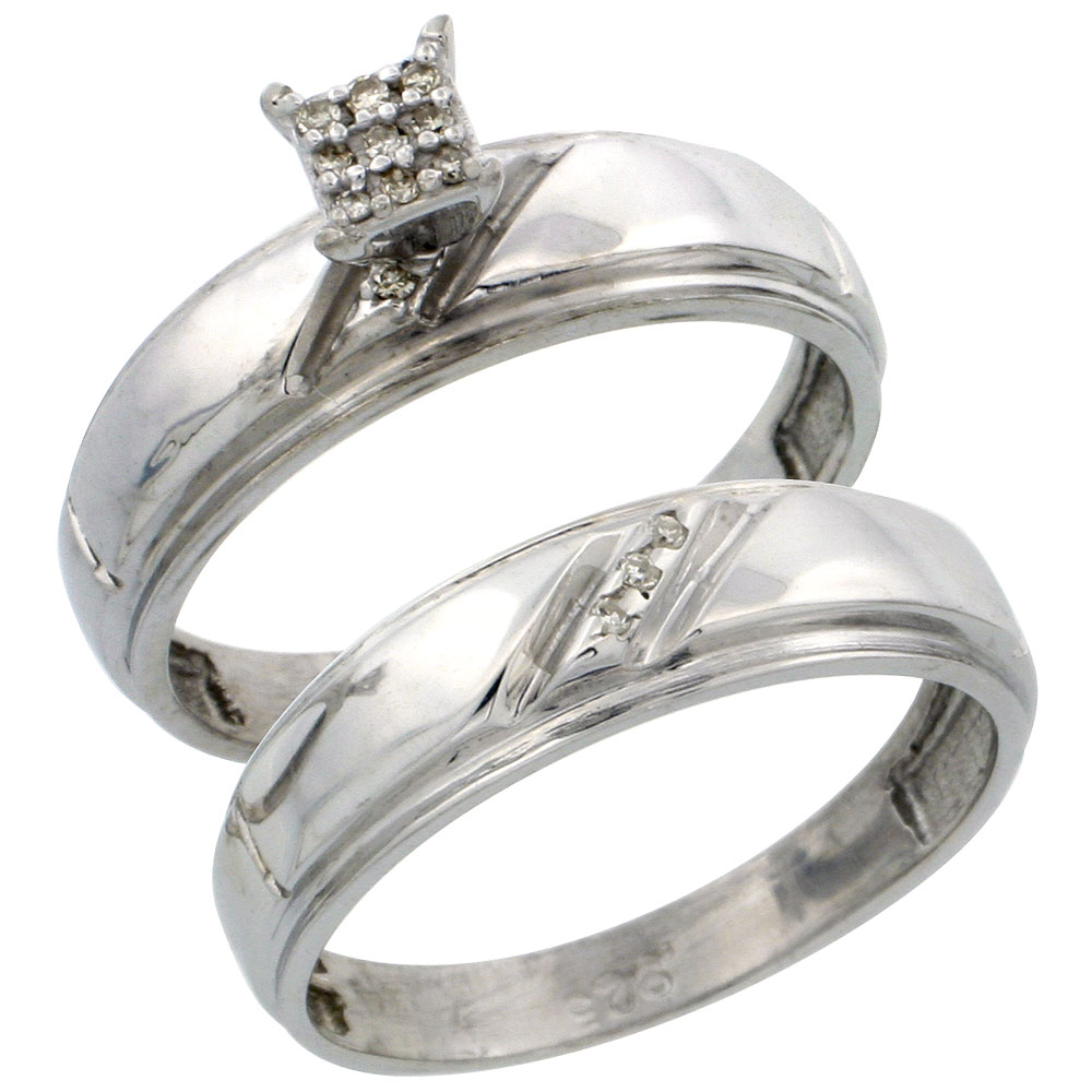 Sterling Silver Ladies? 2-Piece Diamond Engagement Wedding Ring Set Rhodium finish, 7/32 inch wide