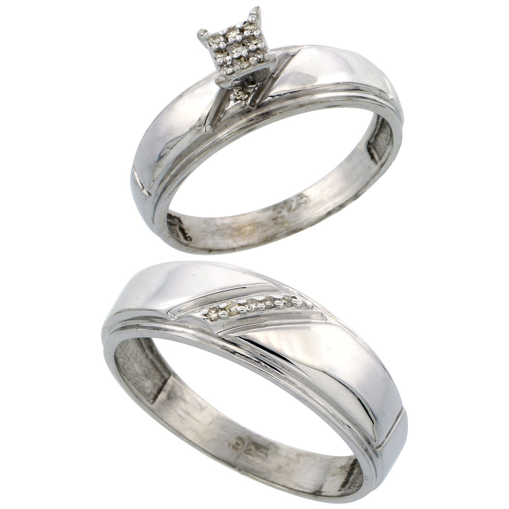 Sterling Silver 2-Piece Diamond wedding Engagement Ring Set for Him and Her Rhodium finish, 5.5mm & 7mm wide