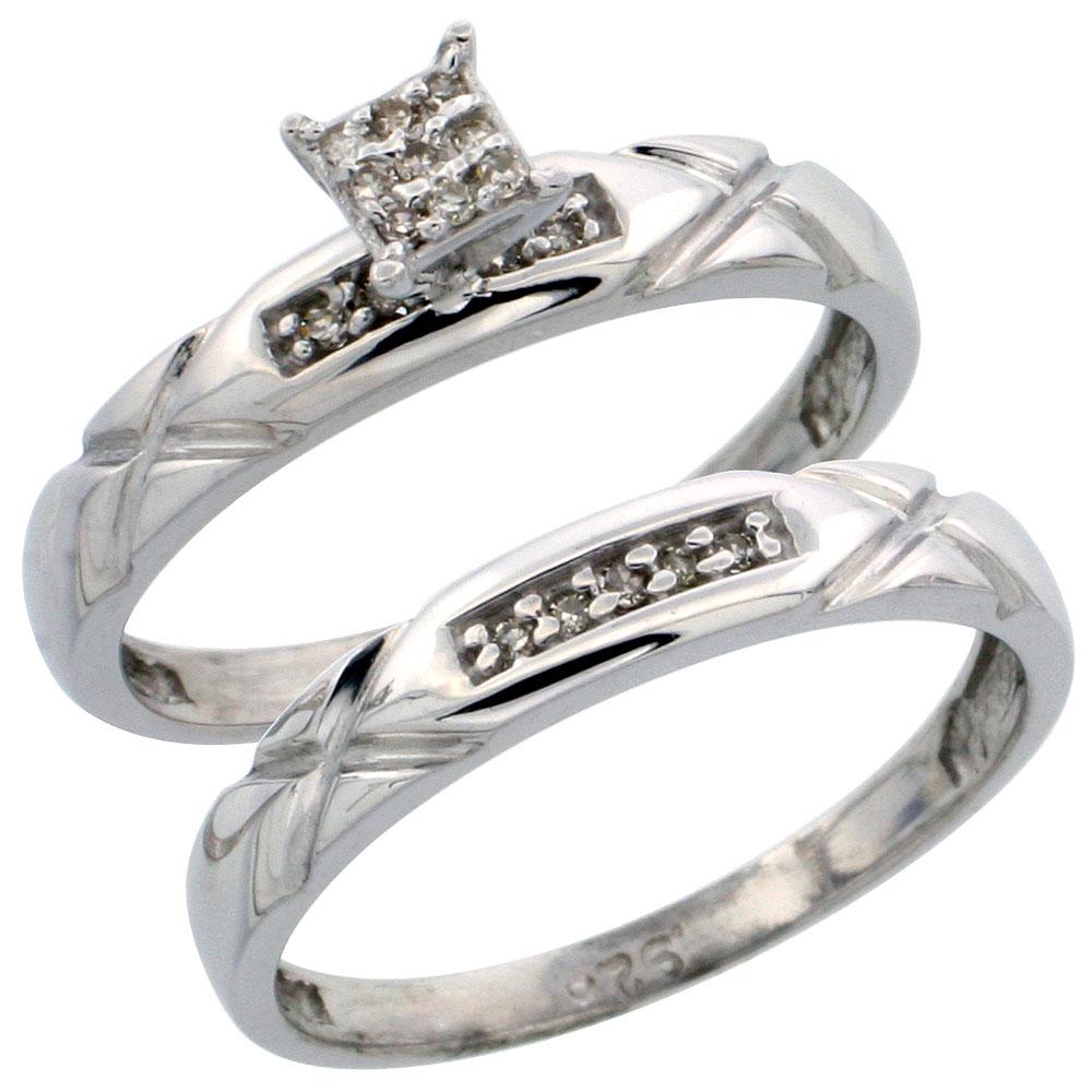 Sterling Silver Ladies? 2-Piece Diamond Engagement Wedding Ring Set Rhodium finish, 1/8 inch wide