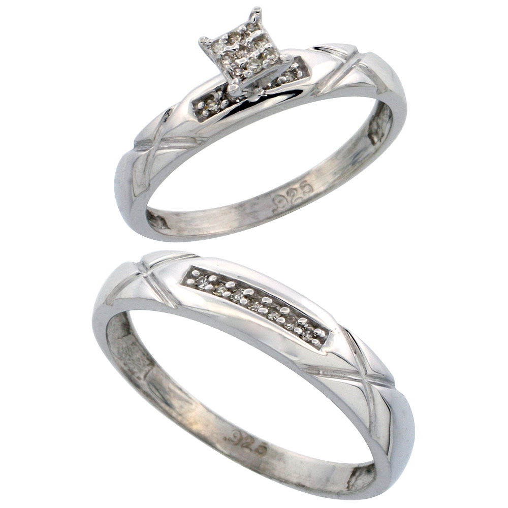 Sterling Silver 2piece Diamond Wedding Engagement Ring Set For Him And Her  Rhodium Finish