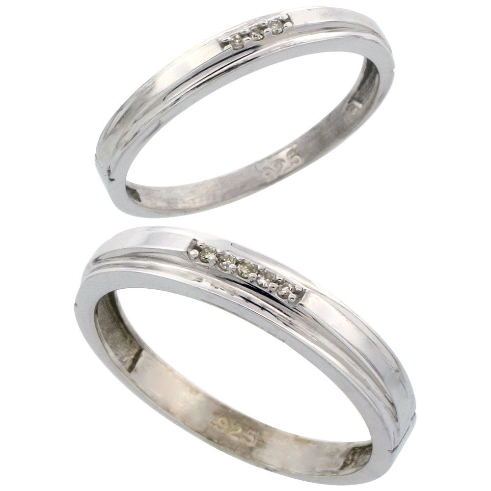 Sterling Silver Diamond 2 Piece Wedding Ring Set His 4mm & Hers 3mm Rhodium finish, Men's Size 8 to 14
