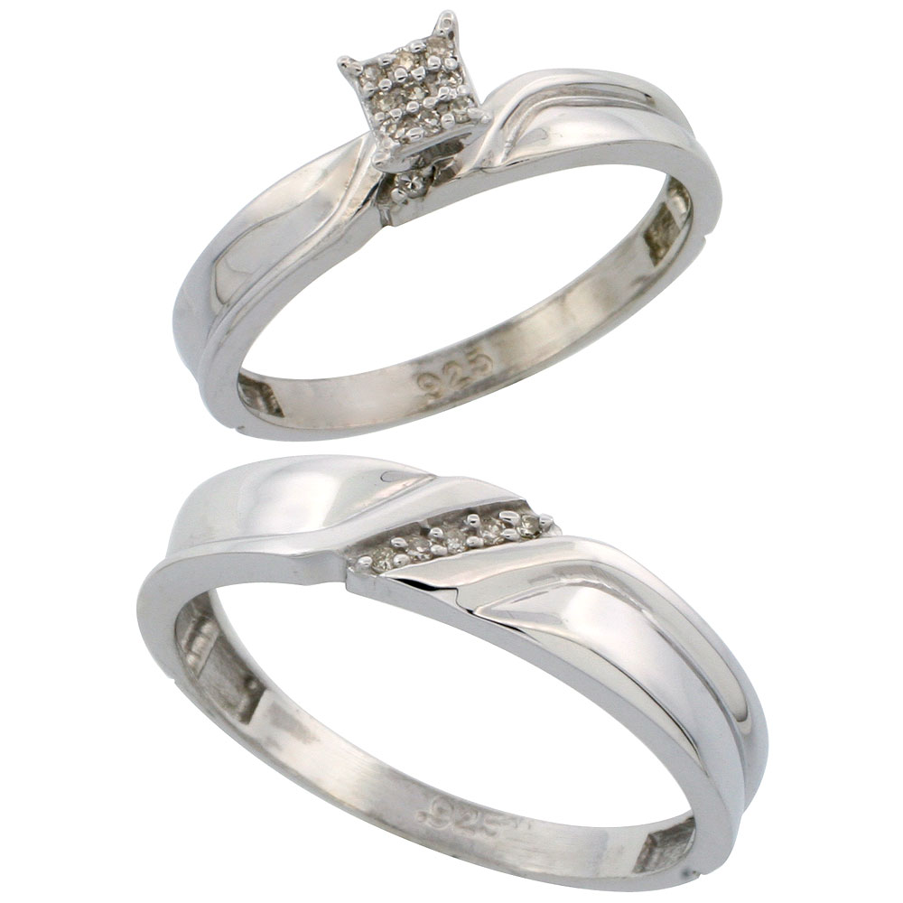 Sterling Silver Jewelry Diamond Rings His & Hers Ring Sets