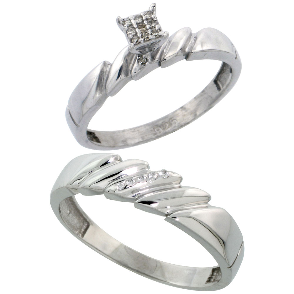 Sterling Silver 2-Piece Diamond wedding Engagement Ring Set for Him and Her Rhodium finish, 4mm & 5mm wide