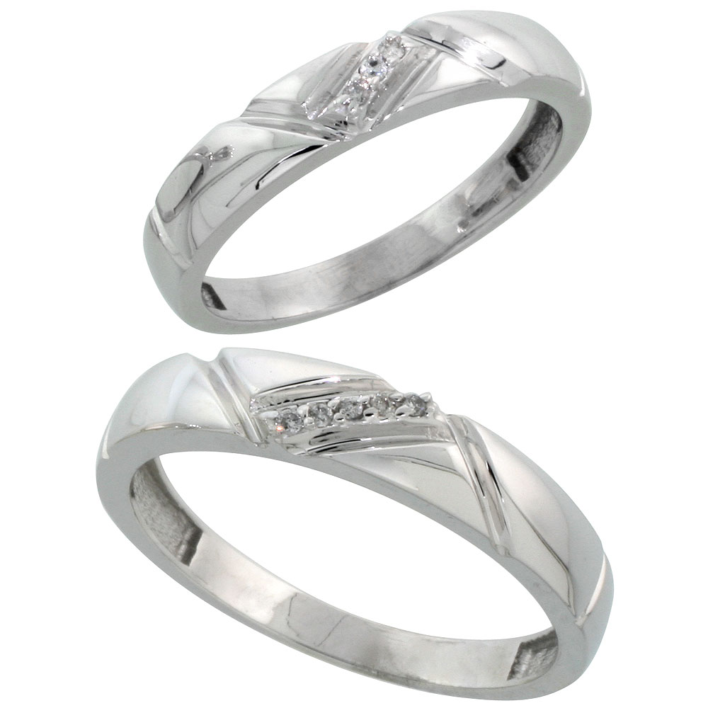 Sterling Silver Diamond 2 Piece Wedding Ring Set His 4.5mm & Hers 4mm Rhodium finish, Men's Size 8 to 14