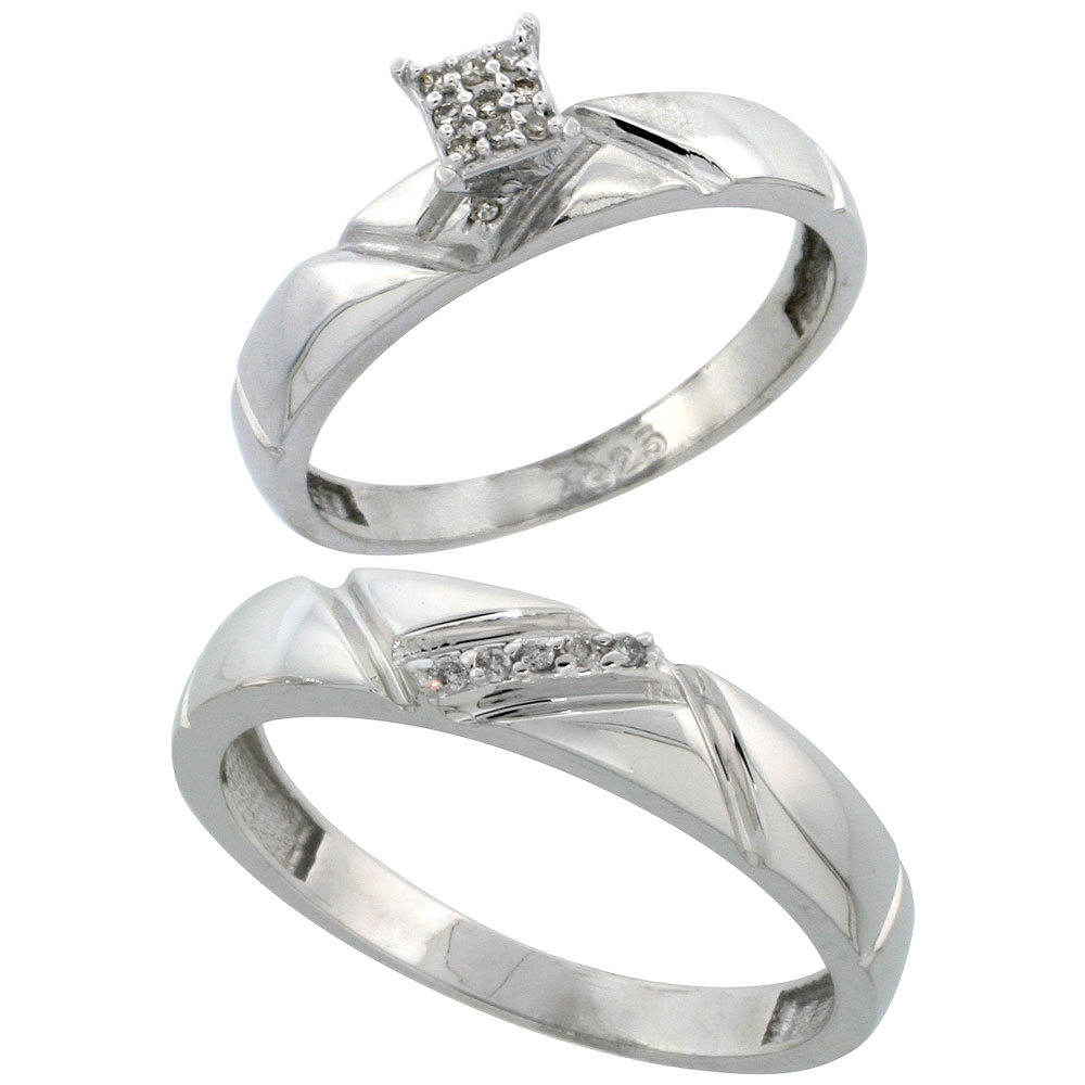 Sterling Silver 2-Piece Diamond wedding Engagement Ring Set for Him and Her Rhodium finish, 4mm & 4.5mm wide