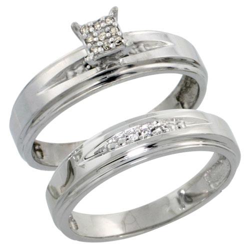 Sterling Silver Ladies? 2-Piece Diamond Engagement Wedding Ring Set Rhodium finish, 3/16 inch wide