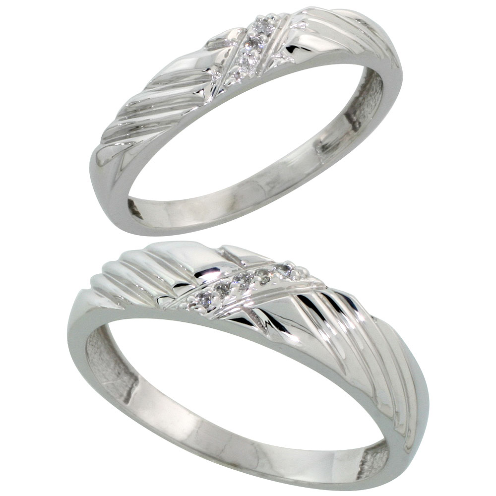 Sterling Silver Diamond 2 Piece Wedding Ring Set His 5mm & Hers 3.5mm Rhodium finish, Men's Size 8 to 14