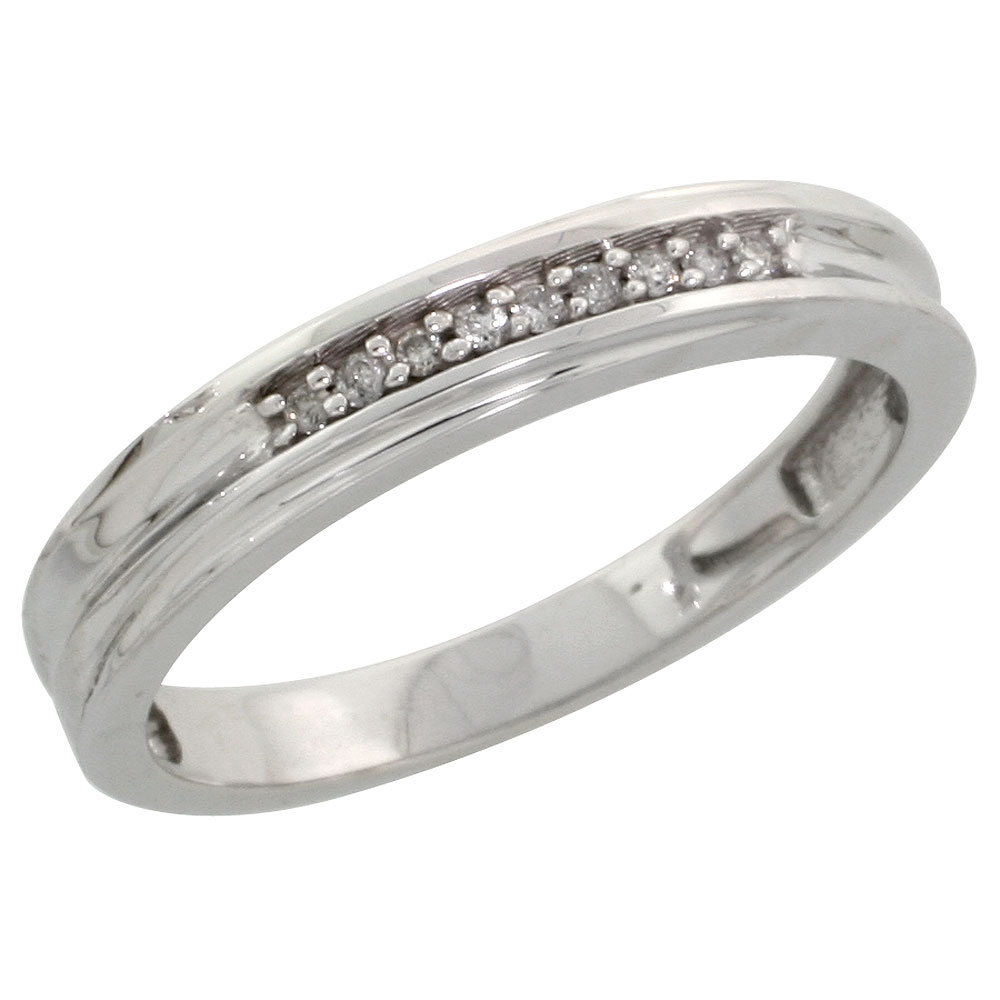 Sterling Silver Ladies' Diamond Wedding Band Rhodium finish, 1/8 inch wide