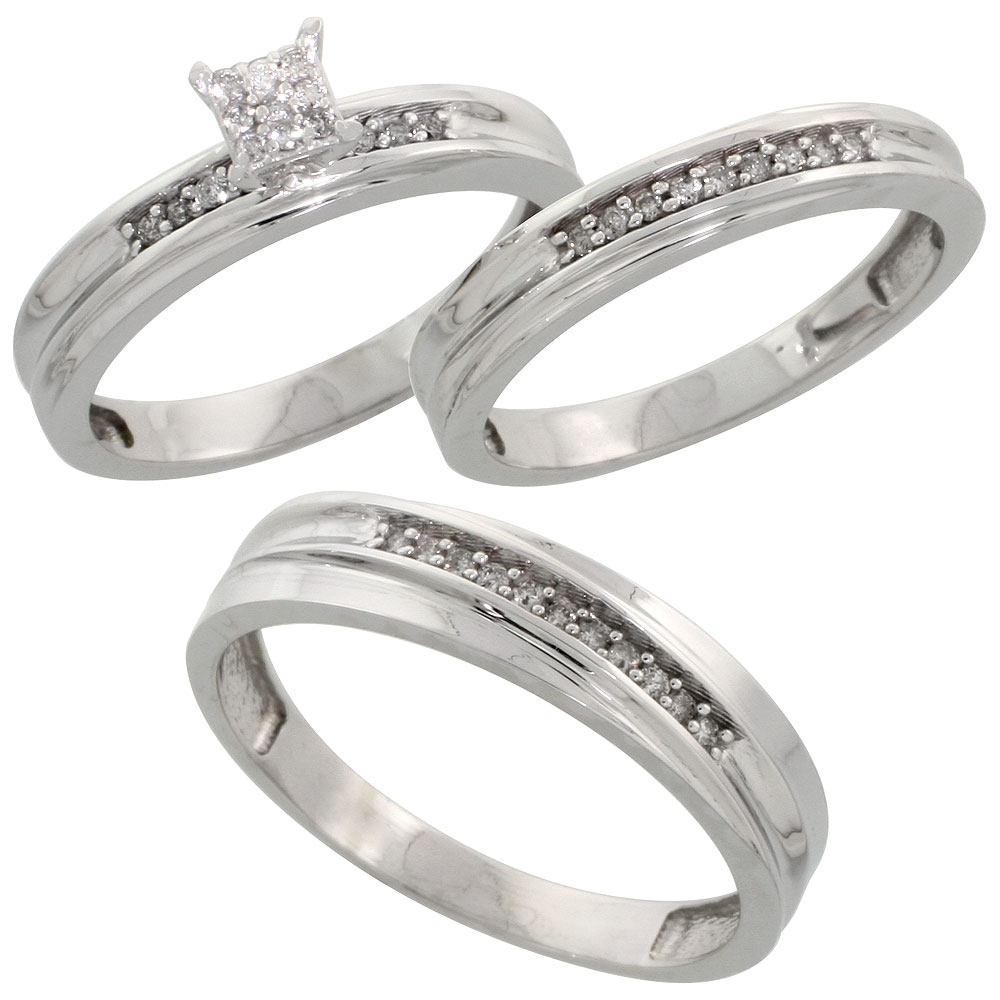 Sterling Silver Diamond Trio Wedding Ring Set His 5mm & Hers 3.5mm Rhodium finish, Men's Size 8 to 14