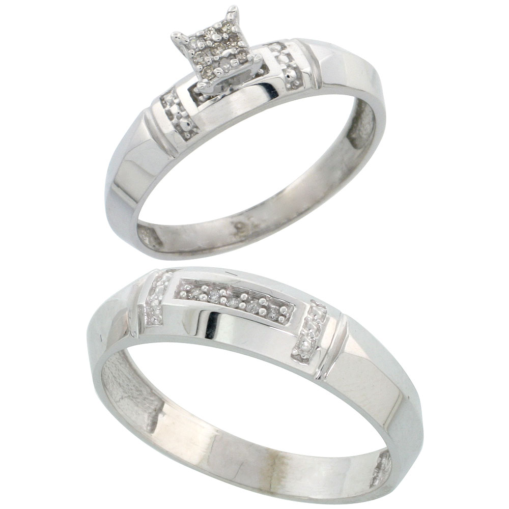 Sterling Silver 2-Piece Diamond wedding Engagement Ring Set for Him and Her Rhodium finish, 4mm & 5.5mm wide