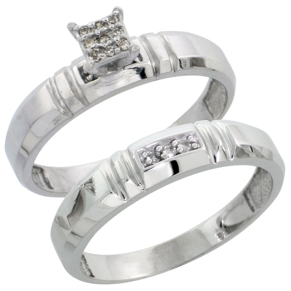 Sterling Silver Ladies? 2-Piece Diamond Engagement Wedding Ring Set Rhodium finish, 5/32 inch wide