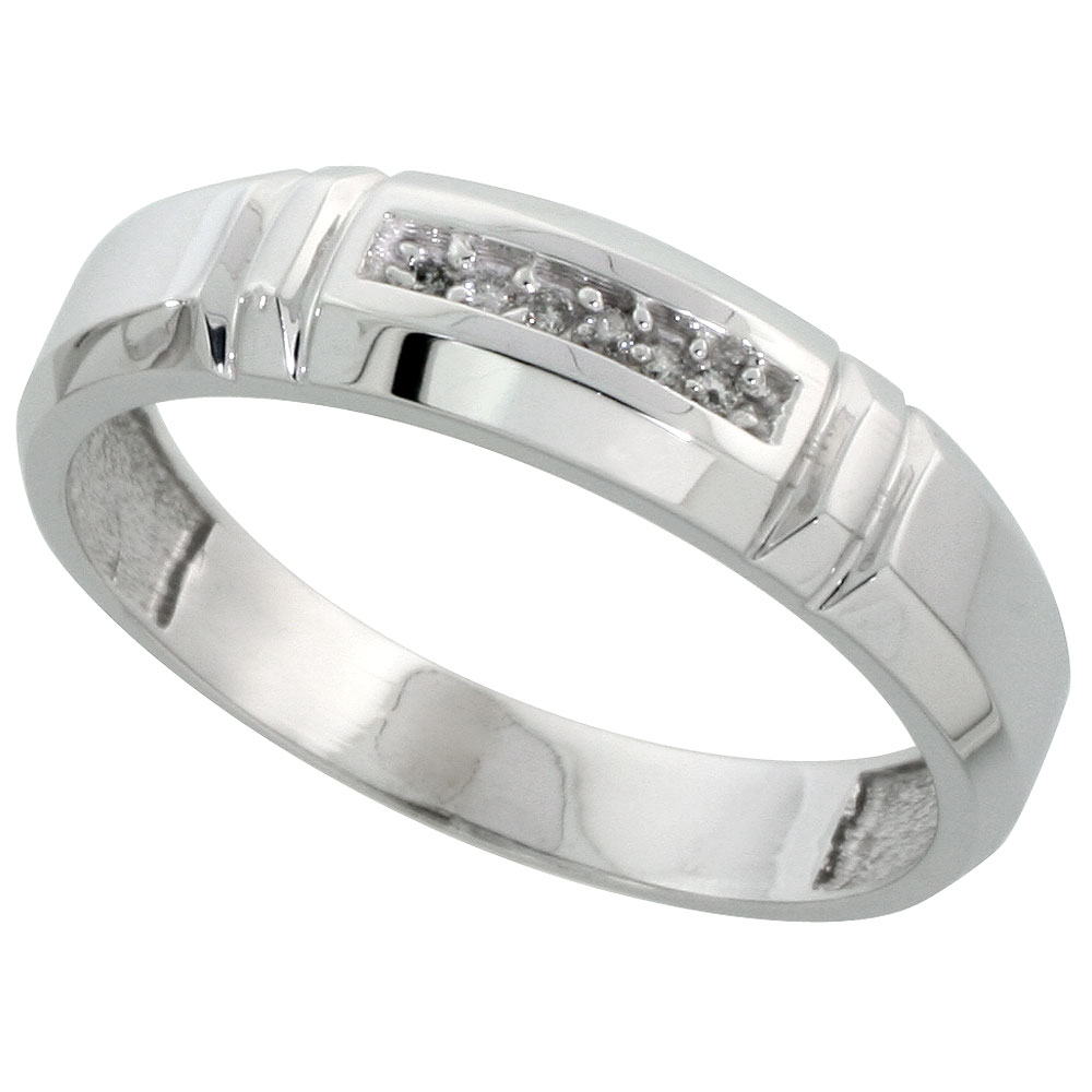 Sterling Silver Men's Diamond Wedding Band Rhodium finish, 7/32 inch wide