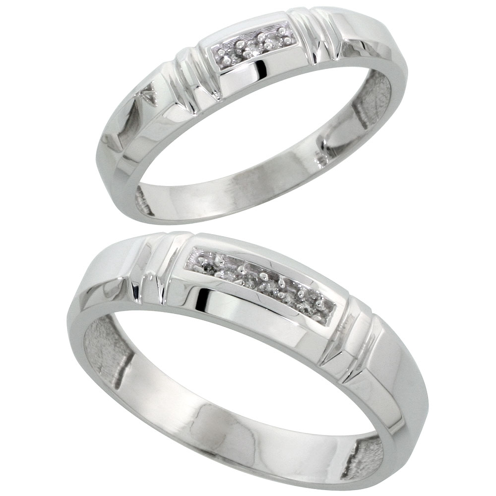 Sterling Silver Diamond 2 Piece Wedding Ring Set His 5.5mm & Hers 4mm Rhodium finish, Men's Size 8 to 14