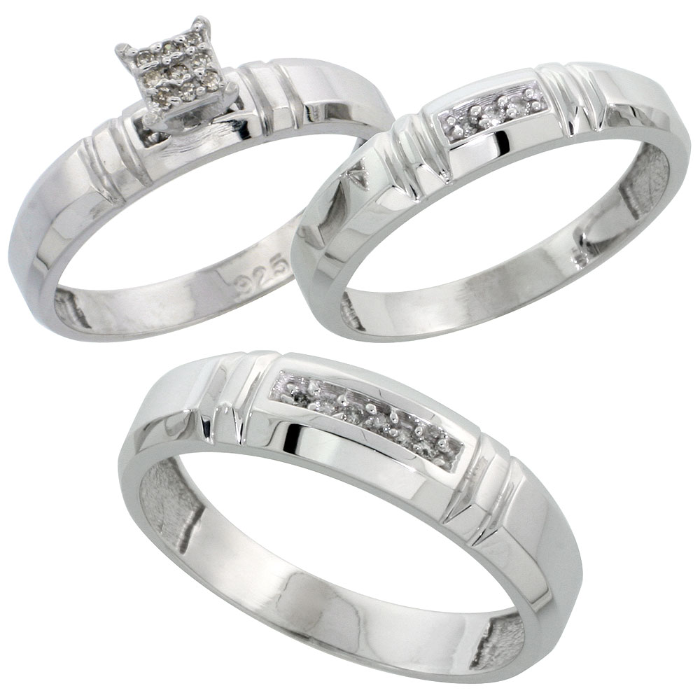 Sterling Silver Diamond Trio Wedding Ring Set His 5.5mm & Hers 4mm Rhodium finish, Men's Size 8 to 14