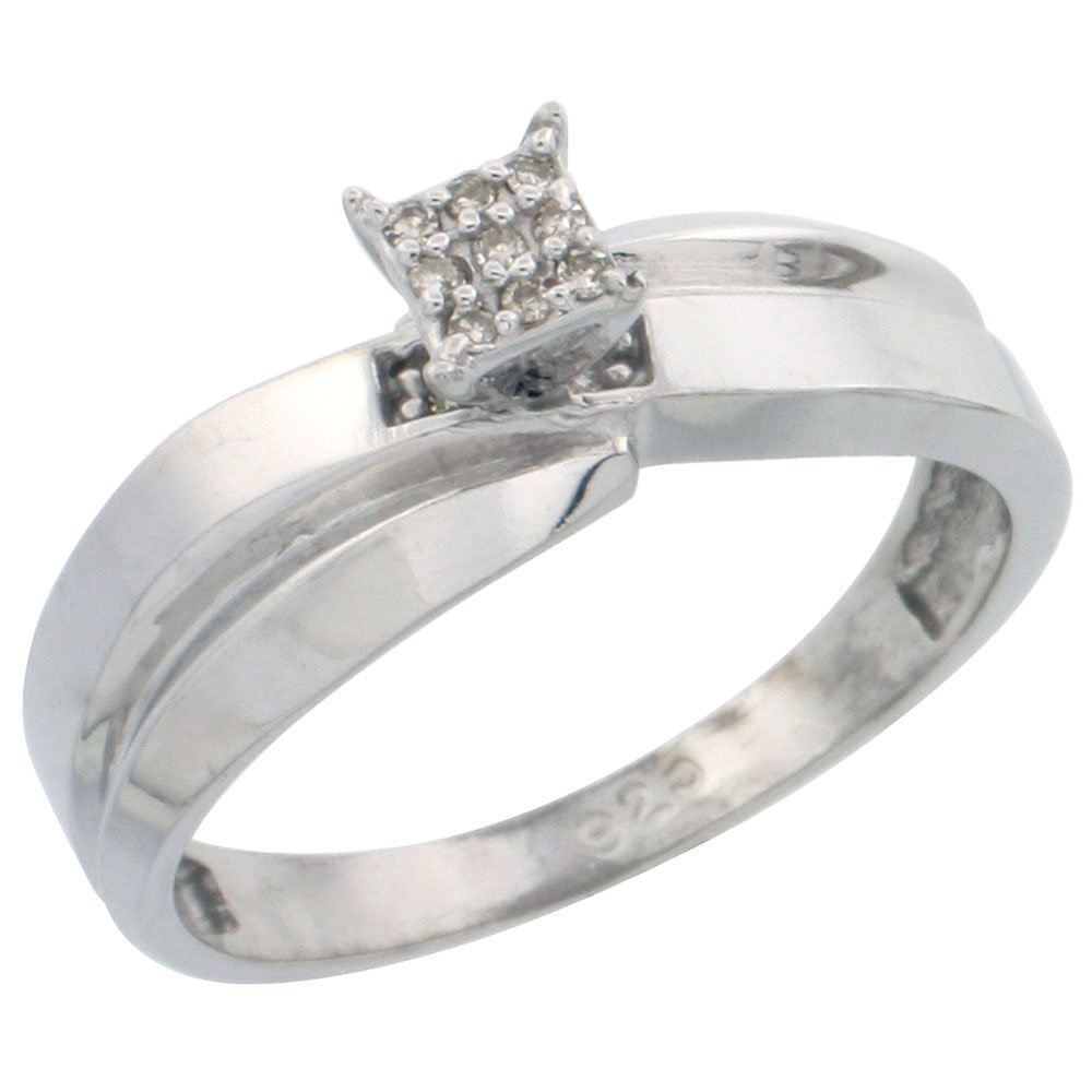 Sterling Silver Diamond Engagement Ring Rhodium finish, 1/4 inch wide