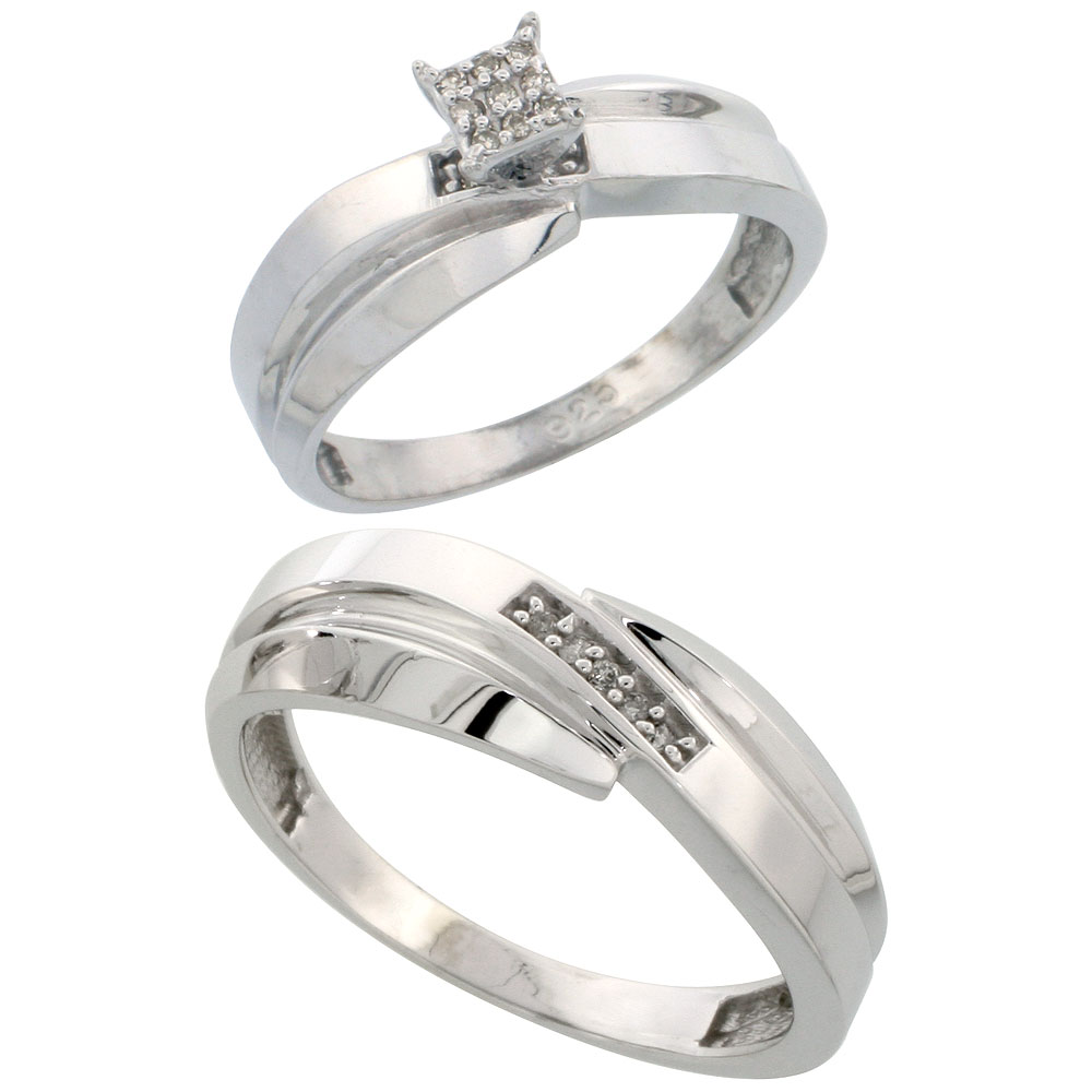 Sterling Silver 2-Piece Diamond wedding Engagement Ring Set for Him and Her Rhodium finish, 6mm & 7mm wide