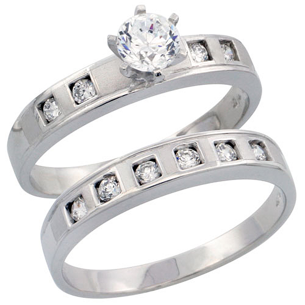 Sterling Silver 2-Piece Engagement Ring Set CZ Stones Rhodium finish 5/32 in. 4 mm, sizes 5 - 10